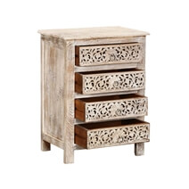 Winter Snow Garden Mango Wood 4-Drawer Nightstand