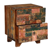 Rainbow Conch Carving Wooden Tile Reclaimed Wood 2 Drawer Nightstand