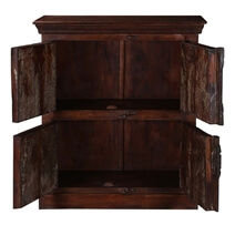 Bromont Dark Brown Reclaimed Mango wood 2 Door Rustic Storage Cabinet