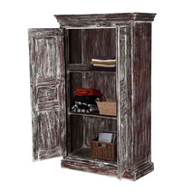 Orlo Frosted Rustic Solid Wood Tall Cabinet Armoire With Shelves