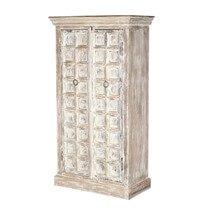 Millsboro Distress Solid Reclaimed and Mango Wood White Armoire