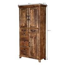 Willamette 70 Rustic 5-drawer 3-door Armoire Storage Cabinet