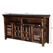 Bradner Reclaimed Wood Front Open Glass Door Large Buffet Cabinet