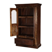 Willamette Dark Brown Solid Wood Display Cabinet Armoire With Shelves