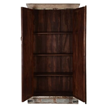 Wooden Mosaic Accent Cabinet Solid Reclaimed Wood Armoire With Shelves