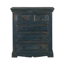 Midnight Blue Modern Farmhouse Mango Wood 5 Drawer Vertical Dresser