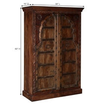Traditional Rustic Solid Reclaimed and Mango Wood Tall Storage Cabinet