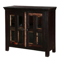 Vanlue Rustic Reclaimed Wood Glass Door Display Storage Cabinet