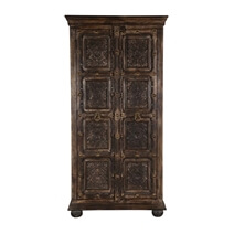 Chartres Gothic Dark Brown Farmhouse Solid Wood Armoire With Shelves
