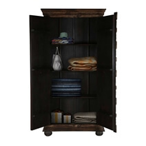 Chartres Gothic Dark Brown Antique Solid Wood Armoire With Shelves