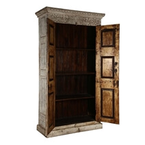 Dakota Handcrafted Solid Wood 2 Door Rustic Tall Storage Cabinet