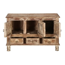 Brice Distressed Finish 3 Door 3 Drawer Sideboard Cabinet