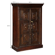 Surfside Handcrafted Brass Accent Solid Wood Armoire Cabinet