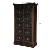 Shawano Solid Reclaimed Wood Brass Inlay Antique Armoire With Shelves