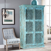Rustic Distressed Blue Lattice Door Solid Wood Large Armoire Cabinet