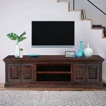 Classic Elizabethan Mango Wood Rustic TV Stand Media Console