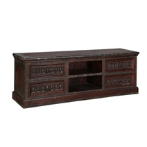 "Traditional Tudor Mango Wood 67"" TV Console Media Island"