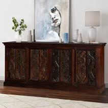 Dragon Vine Gothic Mango Reclaimed Wood Large Rustic Buffet Cabinet