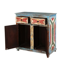 Finley Distressed Blue Mango Wood 2 Door 2 Drawer Buffet Cabinet