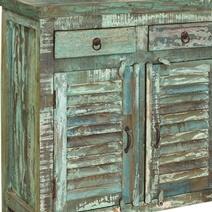 Turquoise Trail Light Green Slat Design 3 Drawer Sideboard Cabinet
