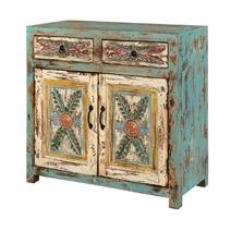 Avilla Fern Pattern Rustic Mango Wood 2 Drawer Small Sideboard Cabinet