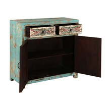 Avilla Fern Pattern Mango Wood 2 Drawer Rustic Sideboard Cabinet