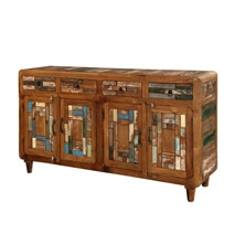 Bonnieville Reclaimed Wood Mosaic Inlay 4 Drawer Large Sideboard