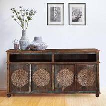 Tangier Handcrafted Dahlia Flower Design 4 Door Long Buffet Cabinet