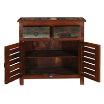 Addyston Rustic Reclaimed Wood Shutter Door 2 Drawer Buffet Cabinet