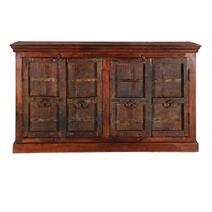 Willamette Dark Brown Rustic Solid Wood 4 Door Large Buffet Cabinet