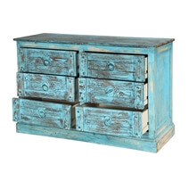 Turquoise Trail Lightly Blue Distressed 6 Drawer Accent Double Dresser