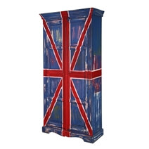 Union Jack Rustic Solid Mango Wood Armoire With Shelves