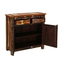 Alorton Rustic Colors Reclaimed Wood 2 Drawer Small Buffet Cabinet