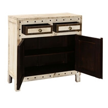 Hyannis Mango Wood Brass Inlay 2 Drawer Small Sideboard Cabinet