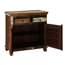 Oilton Colorful Patchy Reclaimed Wood 2 Drawer Small Buffet Cabinet