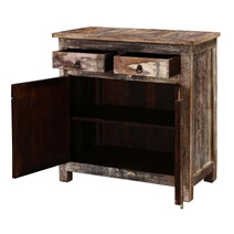 Arkansas Weathered Reclaimed Wood 2 Drawer Rustic Small Buffet Cabinet