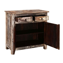 Arkansas Weathered Reclaimed Wood 2 Drawer Rustic Buffet Cabinet