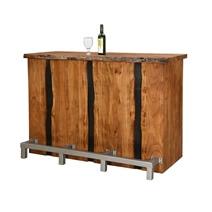 Modern Pioneer Acacia Live Edge Wood Wine Bar Cabinet