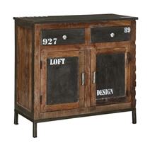 Wellfleet Reclaimed Wood 2 Drawer Industrial Buffet Cabinet