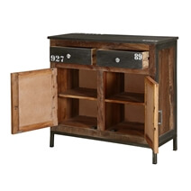 Wellfleet Reclaimed Wood 2 Drawer Industrial Buffet Cabinet