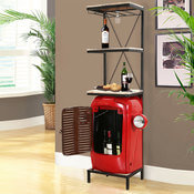 Wisconsin Tractor Grill with Headlights Wine Storage Cabinet