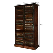 Adeline Louver Door Rustic Reclaimed Wood Tall Storage Cabinet Armoire