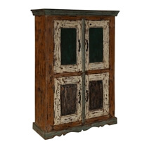 Lena Distressed Reclaimed Wood Handcrafted Double Door Storage Cabinet
