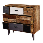 Renton Rustic Mango Wood Accent Industrial Dresser Chest