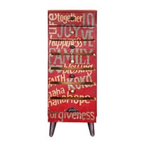 Virginia Funky Red Graded Mango Wood 7 Drawer Tall Accent Dresser