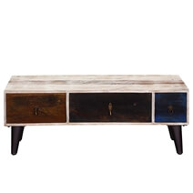 White Rustic Mango Wood 3 Drawer Accent TV Media Console