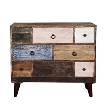 Rustic Colors Mango Wood Iron Standing 8 Drawer Accent Chest