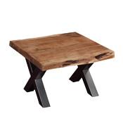 "Picnic Style Acacia Wood & Iron 23"" Square Live Edge End Table"