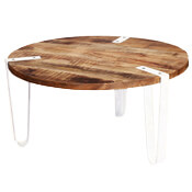 Victoria Mango Wood & Iron Legs Round Coffee Table