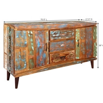 Modern Rustic Reclaimed Wood 3 Drawer Accent Large Sideboard Cabinet